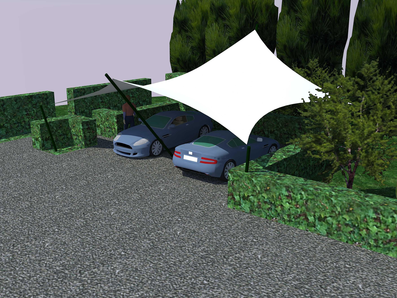 Squaricles overkapping met zeil doek als design carport