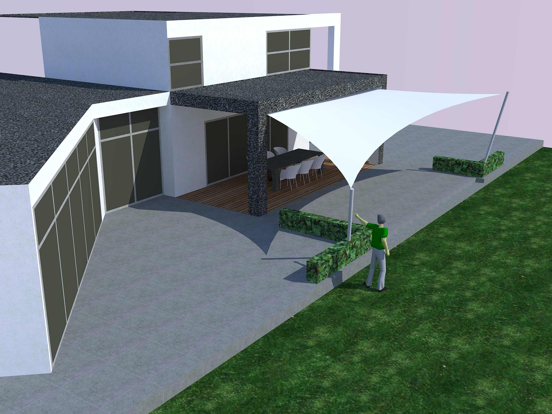 De design overkapping met zeil doek 3D studie - zonnezeil systeem