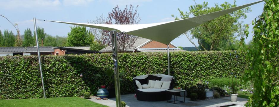 Design overkapping van zeil doek als zonnezeil systeem